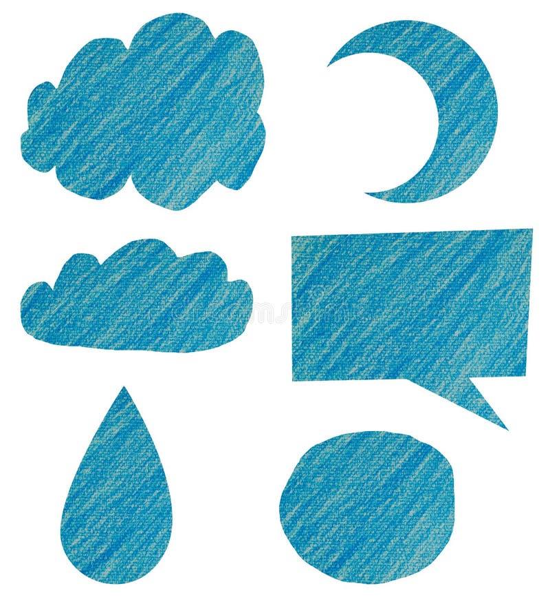 Charla azul de la burbuja hecha de arte del color del lápiz stock de ilustración