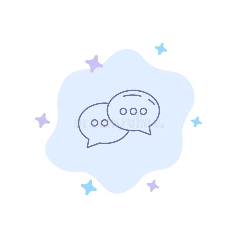 Charla, charlando, conversación, icono azul del diálogo en fondo abstracto de la nube stock de ilustración