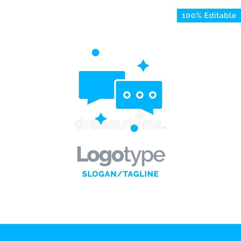 Charla, charlando, correo, correo electrónico Logo Template sólido azul Lugar para el Tagline libre illustration