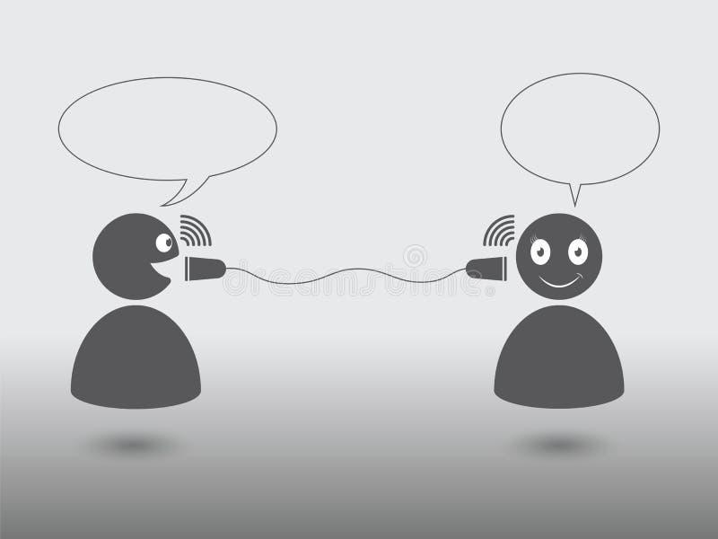 Charla clásica del icono de la comunicación entre dos personas stock de ilustración