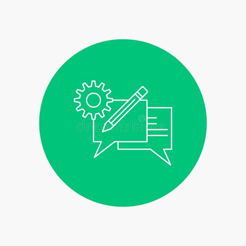 charla, comunicación, discusión, ajuste, línea blanca icono del mensaje en fondo del círculo Ejemplo del icono del vector ilustración del vector