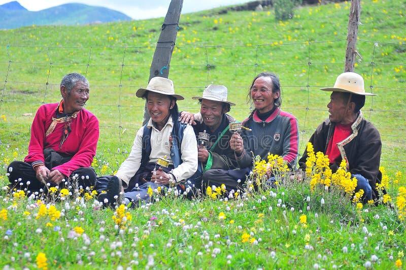 Charla de algunos tibetanos, sentándose en la pradera fotos de archivo