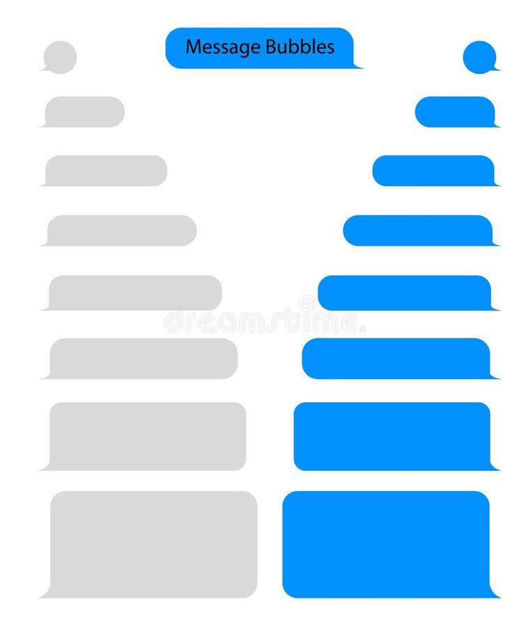 Charla de la burbuja del mensaje para el texto, SMS Charle al mensajero en la forma de la burbuja en estilo plano Mensaje en blan stock de ilustración