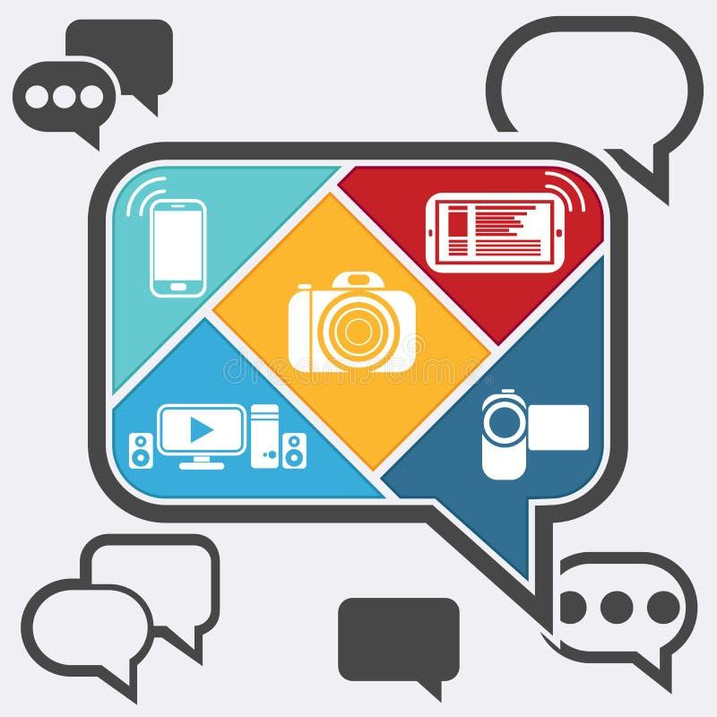 Charla de la burbuja infographic con los iconos móviles ilustración del vector
