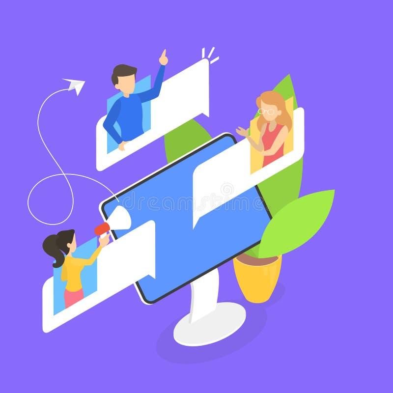 Charla de la gente en el foro en Internet ilustración del vector