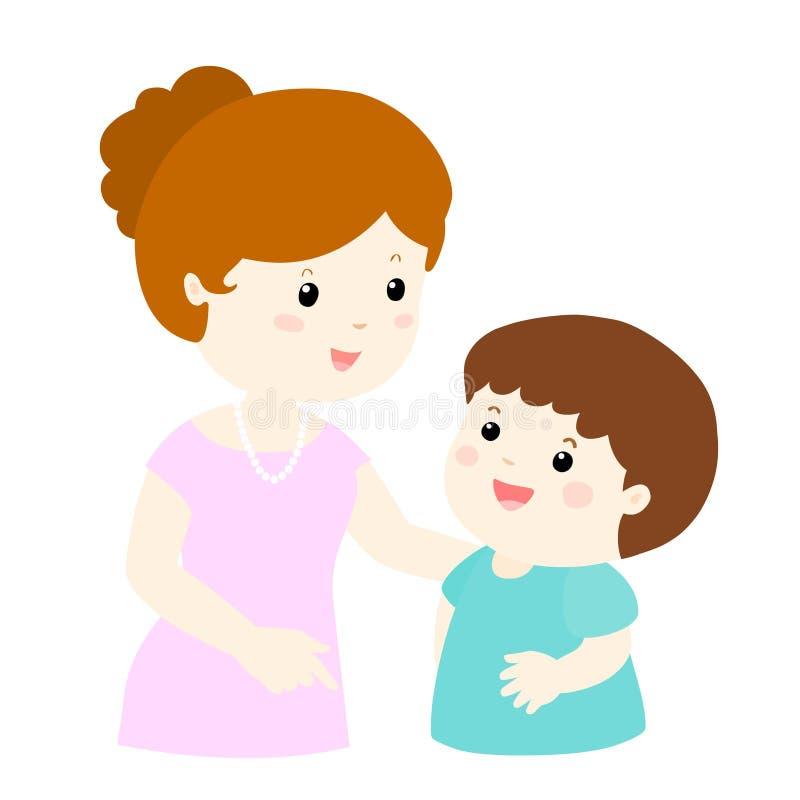 Charla de la mamá a su del hijo historieta suavemente ilustración del vector