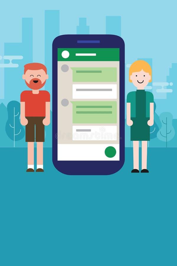 Charla de la mujer del hombre de los pares en la relación de la distancia del Smart-teléfono del dispositivo móvil ilustración del vector