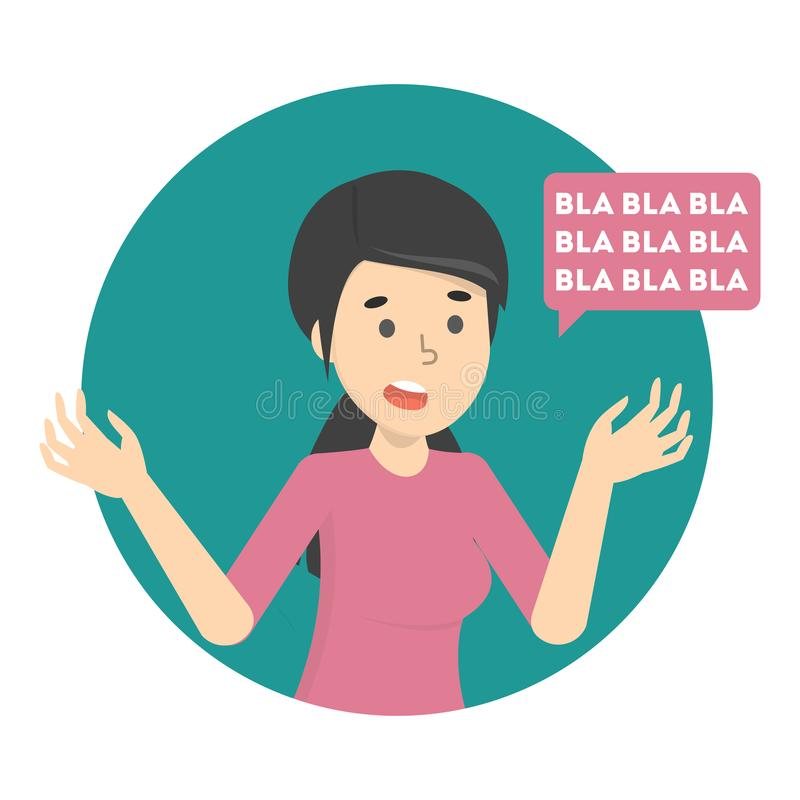 Charla de la mujer a mucho con la burbuja del discurso ilustración del vector