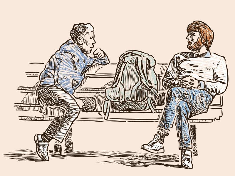 Charla de los ciudadanos sobre un banco de la calle stock de ilustración