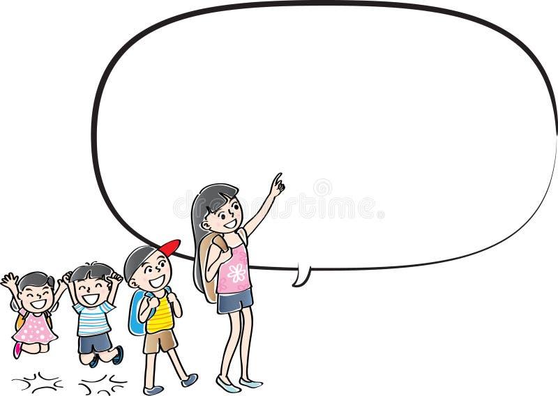 Charla de los niños del dibujo del vector con la burbuja del discurso libre illustration