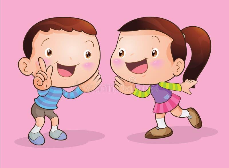 Charla de los niños y el escuchar ilustración del vector