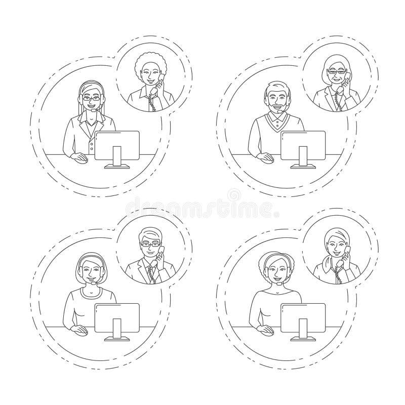 Charla del agente del centro de atención telefónica sobre el teléfono con el cliente stock de ilustración