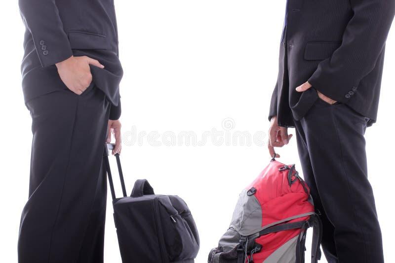 Charla del hombre de negocios de la mochila fotos de archivo