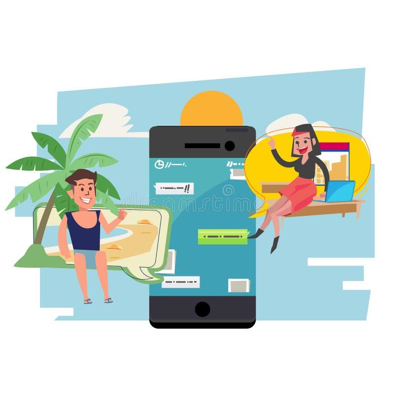 Charla en línea de Internet y app del mensajero del teléfono móvil La gente habla en un teléfono por el uso del mensaje de texto  stock de ilustración