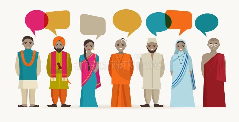 Charla india de la gente - diverso religioso indio ilustración del vector