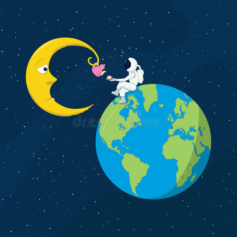 Charla a la luna libre illustration
