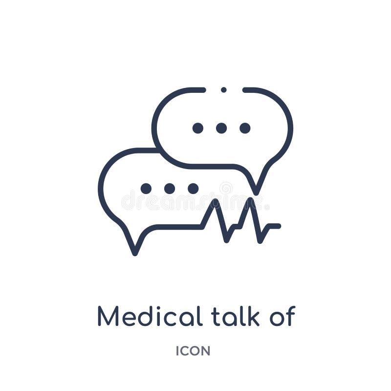 Charla médica linear del icono rectangular de la colección médica del esquema Línea fina charla médica de icono rectangular aisla libre illustration