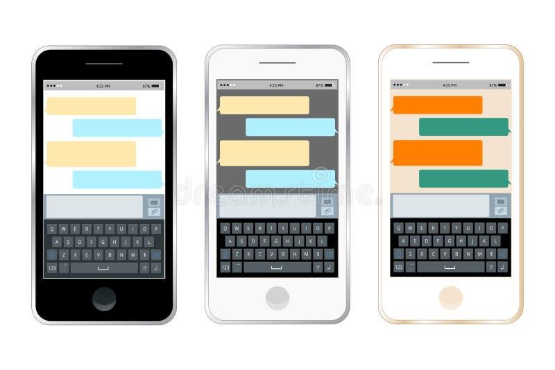 Charla móvil del mensajero, manos con el smartphone que envía un mensaje Diseño plano isométrico, ejemplo del vector stock de ilustración
