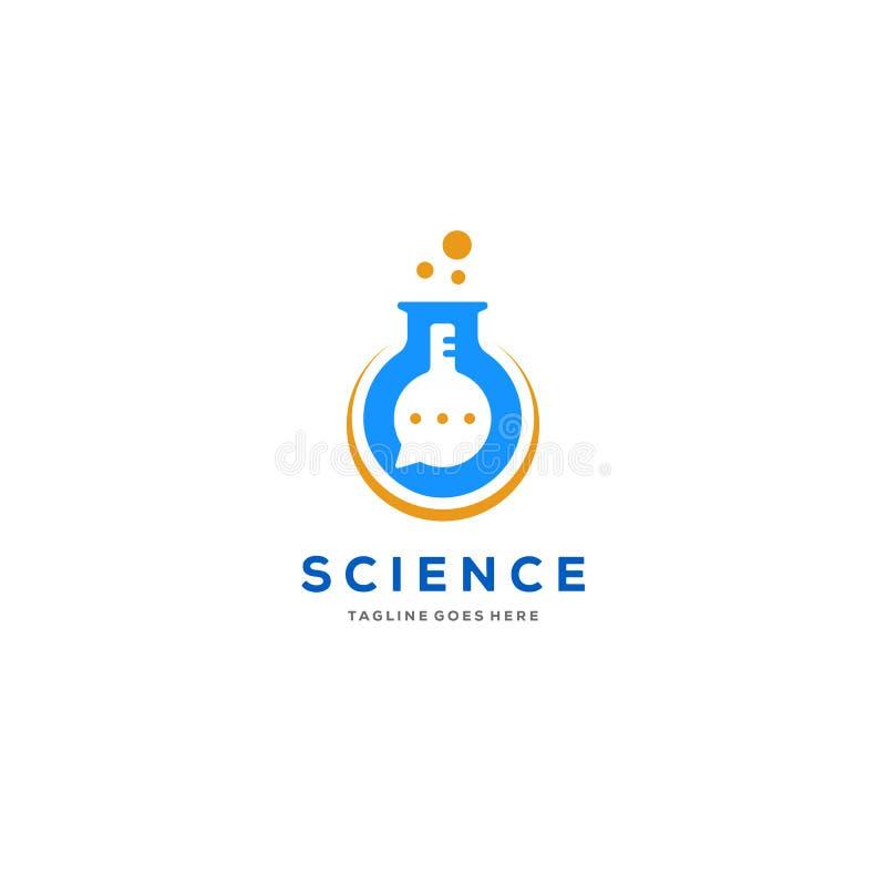 Charla o charla y ejemplo del icono del vector del logotipo de la naturaleza del laboratorio ilustración del vector