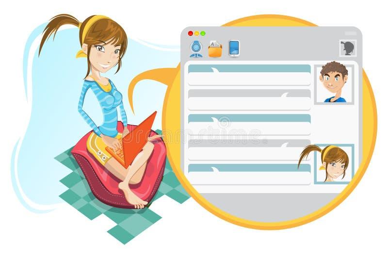 Charla social en línea de la muchacha de los media libre illustration
