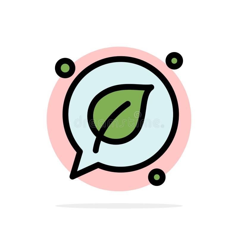 Charla, verde, hoja, icono plano del color de fondo abstracto de ahorro del círculo libre illustration