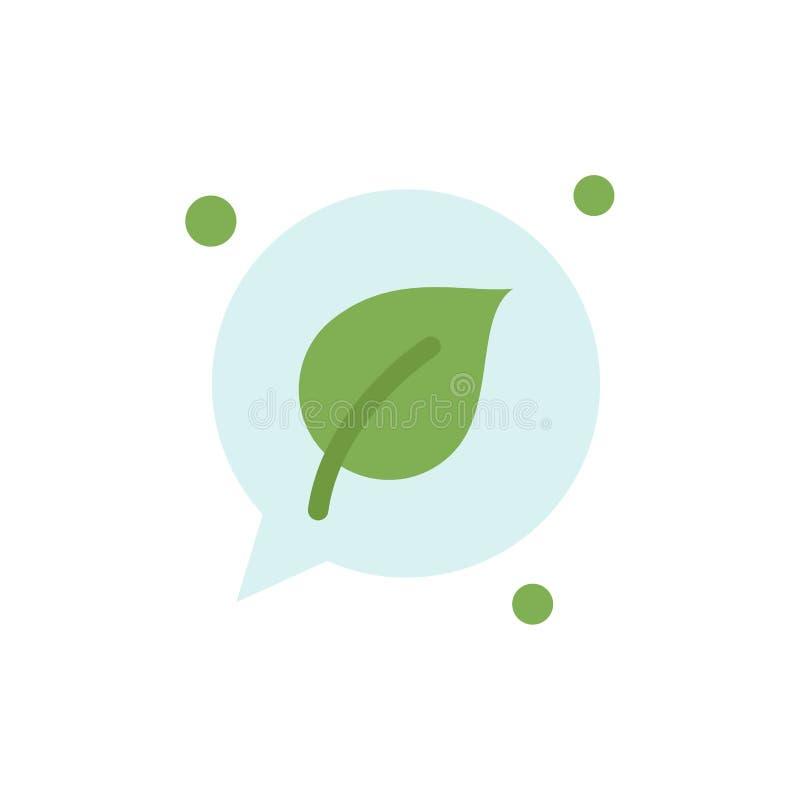 Charla, verde, hoja, icono plano del color de la reserva Plantilla de la bandera del icono del vector libre illustration