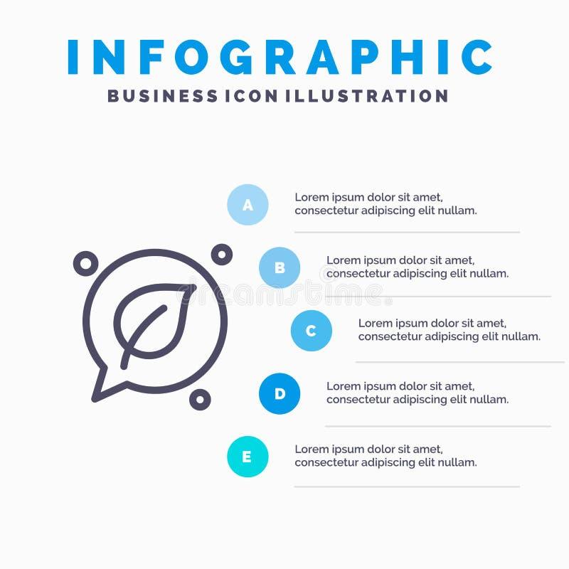Charla, verde, hoja, línea de ahorro icono con el fondo del infographics de la presentación de 5 pasos stock de ilustración