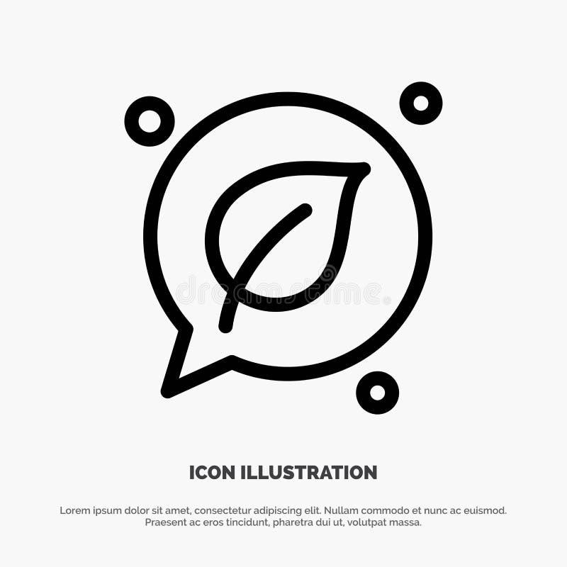 Charla, verde, hoja, línea de ahorro vector del icono libre illustration