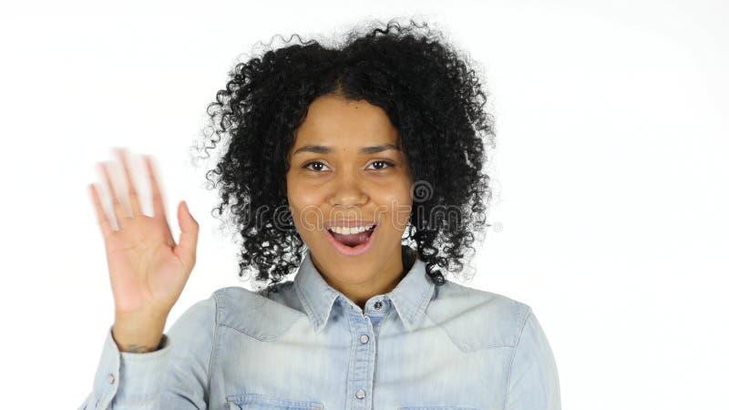 Charla video de la mujer afroamericana fotografía de archivo libre de regalías