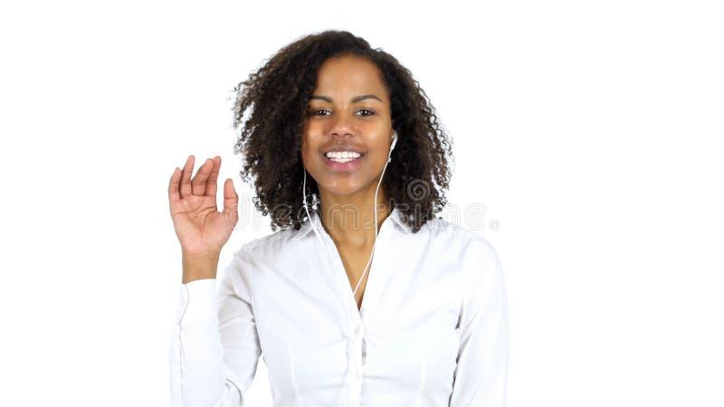Charla video de la mujer negra, fondo blanco imagen de archivo libre de regalías