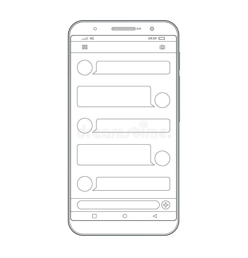 Charla y mensajería Envío de SMS cajas de la charla Burbujas del discurso Concepto social de la red stock de ilustración