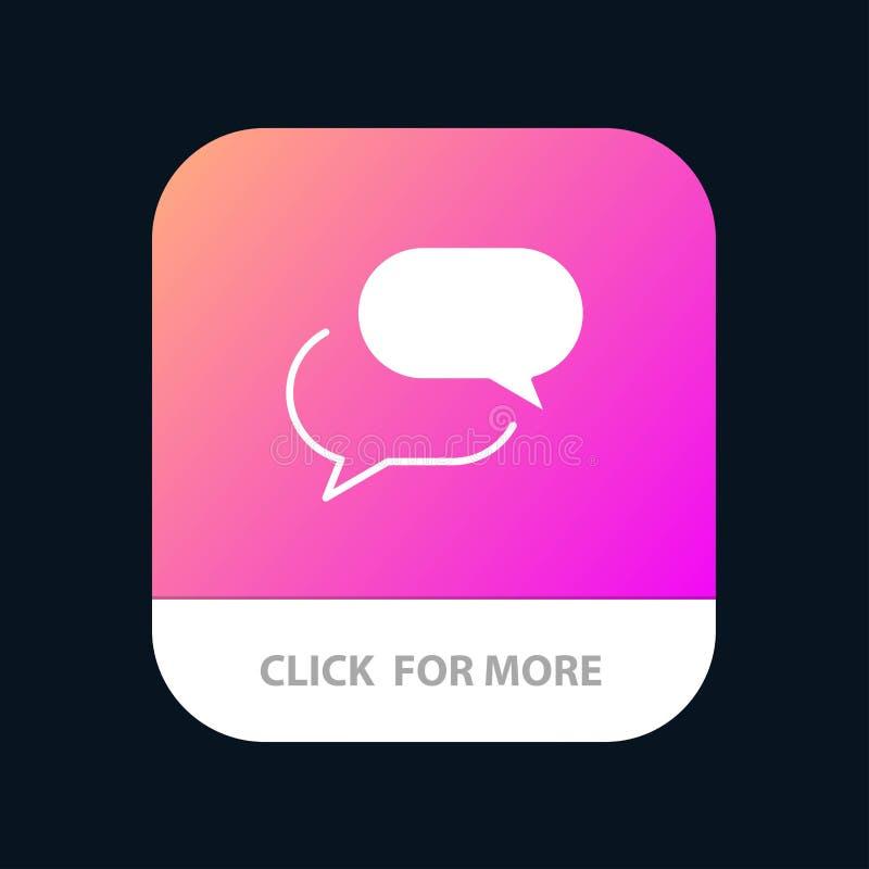 Charlando, charla, SMS, botón móvil del App del correo Android y versión del Glyph del IOS ilustración del vector