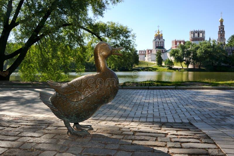 Charlatan de Mère-canard au parc de Novodevichy images libres de droits