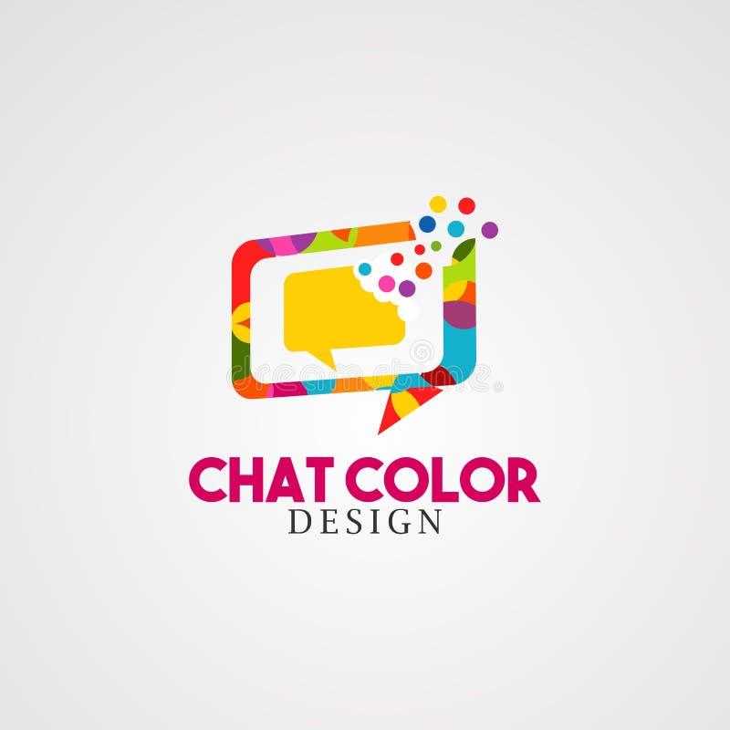 Charle el color con vector, el icono, el elemento, y la plantilla coloridos del logotipo de la caja de la burbuja para el negocio ilustración del vector