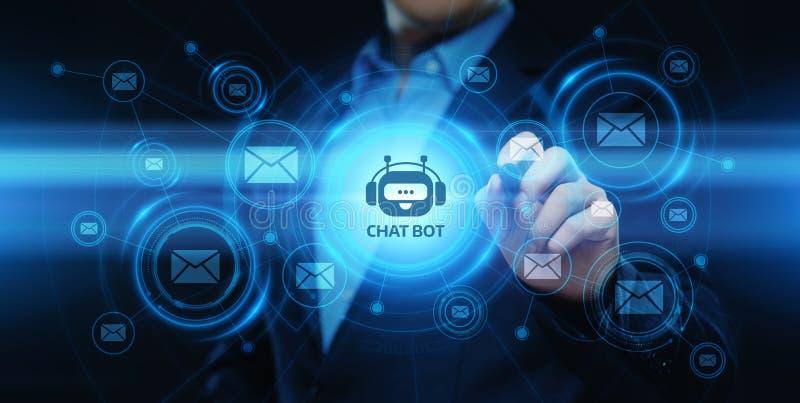 Charle el concepto de charla en línea de la tecnología de Internet del negocio de la comunicación del robot del bot stock de ilustración