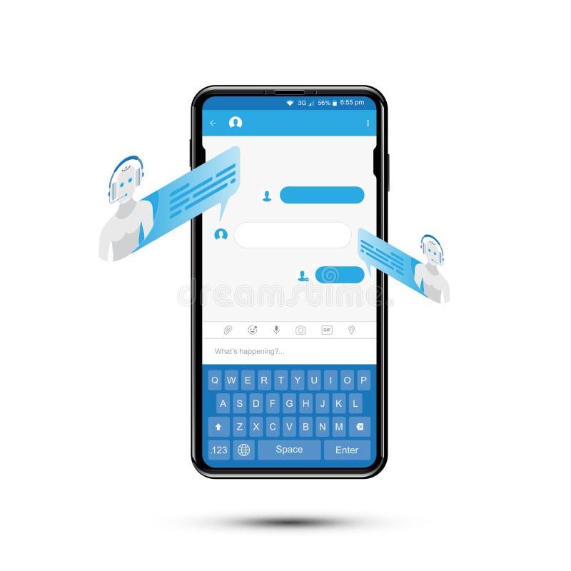 Charle el icono isométrico del bot para el establecimiento de una red social en smartphone realista Concepto social y una charla  stock de ilustración