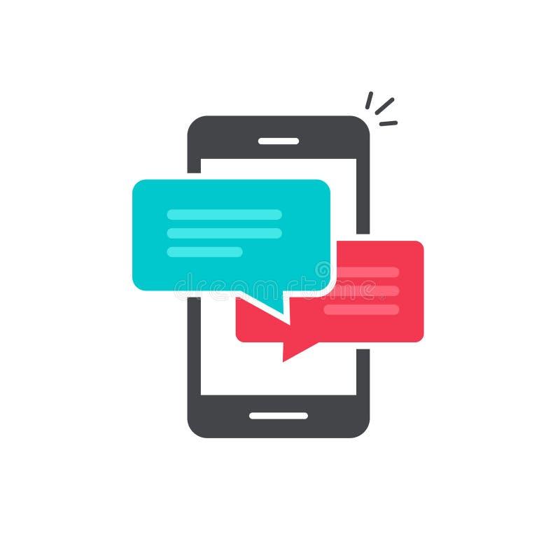 Charle en el vector del icono del teléfono móvil, símbolo plano de los discursos de la burbuja del diálogo del smartphone stock de ilustración
