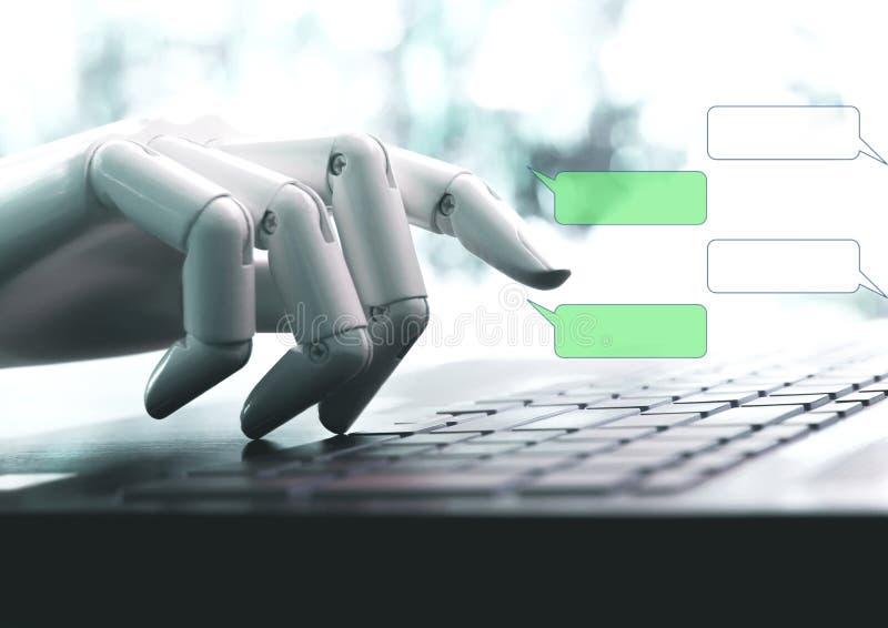 Charle la charla viva de la charla del robot de las manos del concepto del bot en espacio vacío imagenes de archivo