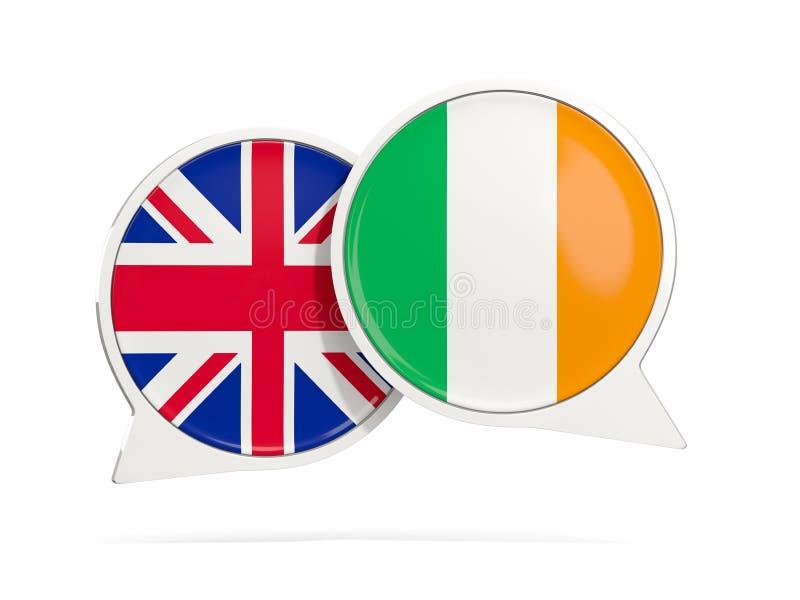 Charle las burbujas de Reino Unido y de Irlanda aislados en blanco ilustración del vector