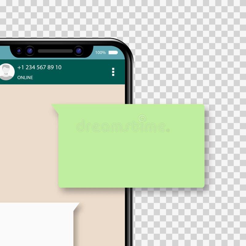 Charle las notificaciones en el teléfono móvil, discursos de charla verdes de la burbuja, concepto del mensaje de hablar en línea stock de ilustración