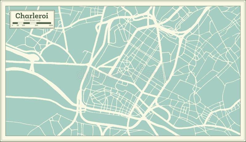 Charleroi-Stadtplan im Retrostil Antilocapra Americana vektor abbildung