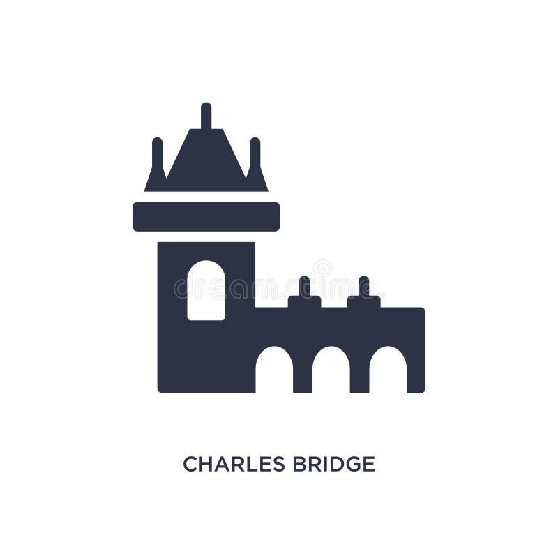 Charles-Brückenikone auf weißem Hintergrund Einfache Elementillustration vom Gebäudekonzept stock abbildung