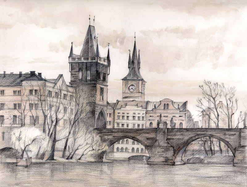 Charles Bridge in art royalty free illustration