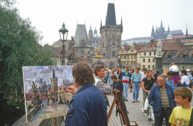 Charles Bridge Artist- Prague royalty free stock photo
