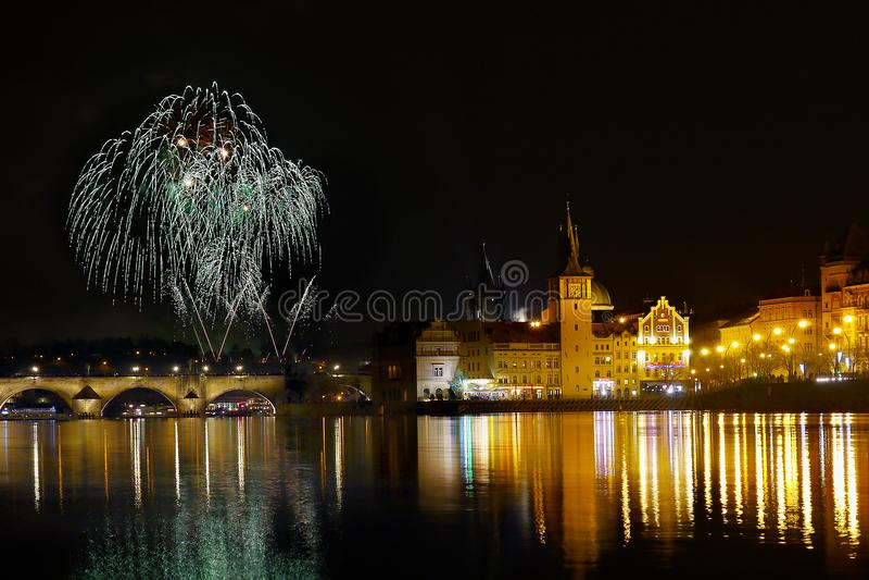 New Year Prague Firework stock photos