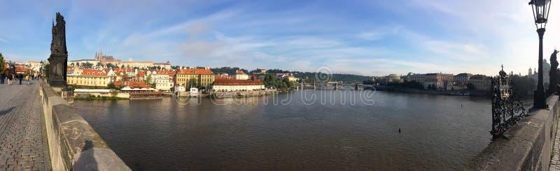 Charles Bridge, buildings on the embankment . Prague. Czech stock image
