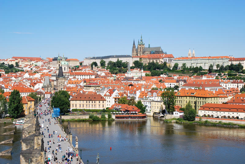 The Charles bridge and castle of Prague