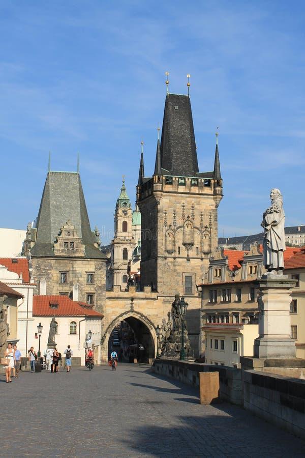 Charles Bridge in de Tsjechische Republiek van Praag stock afbeeldingen