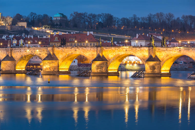 Charles Bridge in the evening in Prague, Czech Republic royalty free stock images