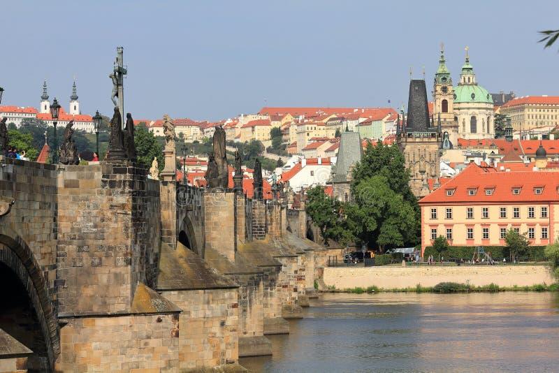 Charles Bridge Karluv most and Malá Strana bank of Vltava River with its towers, Prague Praha, Czech Republic Ceská republika. Charles Bridge is a historic stock image